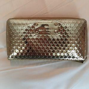 Gold Kate Spade Zip Wallet
